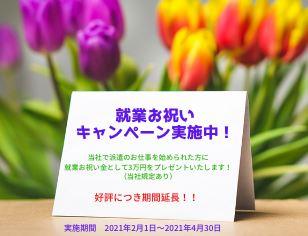 <就職お祝いキャンペーン>お祝い金3万円をプレゼント! ※詳細はお問合せ下さい。